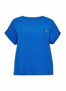 Womens Dp Curve Cobalt Woven T-Shirt, Cobalt