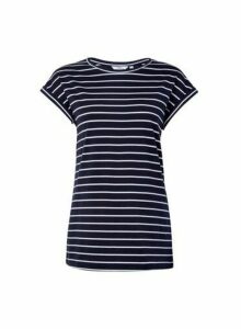 Womens Tall Organic Cotton Navy Blue Striped Roll Sleeve Tee, Blue