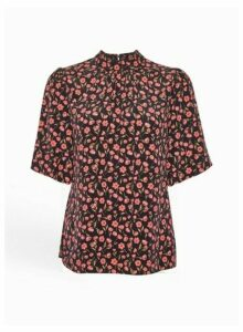 Womens Black Floral Print Puff Sleeve Top, Black