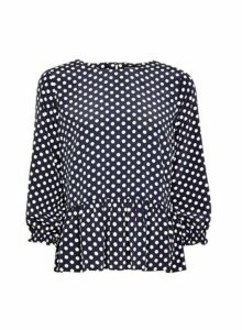 Womens Navy Spot Print Peplum Top- Blue, Blue