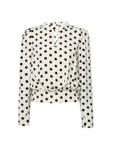 Womens Blush Spot Print Long Sleeve Blouse - Pink, Pink