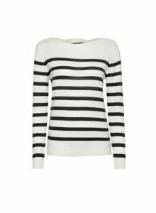 Womens Ivory Stripe Boat Neck Jumper, Ivory