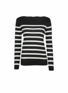 Womens Black Stripe Boat Neck Jumper, Black