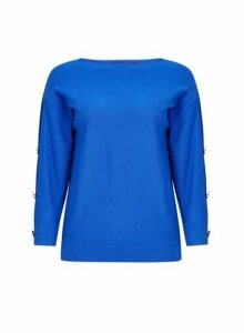 Womens Blue Button Sleeve Jumper- Cobalt, Cobalt