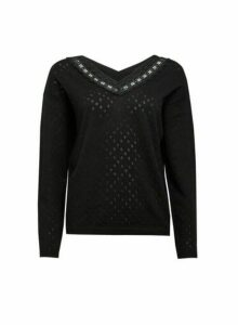 Womens Black Lace V-Neck Jumper, Black