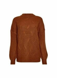 Womens Brown Diagonal Knit Jumper- Tabacco, Tabacco