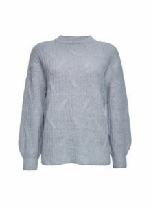 Womens Grey Diagonal Knit Jumper, Grey