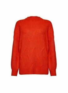 Womens Red Diagonal Knit Jumper, Red