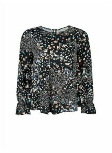Womens Billie & Blossom Petite Multi Colour Butterfly Print Long Sleeve Top - Black, Black