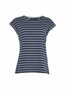 Womens Organic Cotton Navy White Roll Sleeve T-Shirt - Blue, Blue