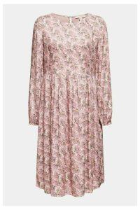 Womens Esprit Pink Viscose Light Woven Dress With Flower Pattern -  Pink