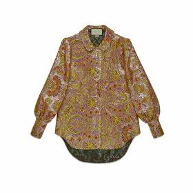 Floral lamé jacquard shirt