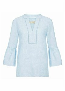 Maudie Linen Top Soft Blue