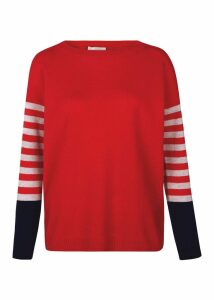 Stripe Sofia Wool Cashmere Sweater Red Multi