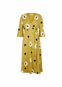 Jeanne Wrap Dress Yellow Black