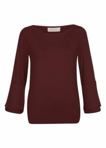 Thora Frill Top Bordeaux