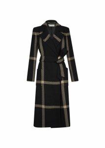 Florina Wool Blend Coat Black Camel