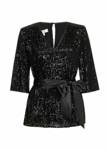 Salma Sequin Top Black