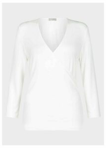 Joni V Neck Wrap Top Ivory