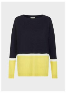 Sofia Wool Cashmere Stripe Sweater Navy Yellow