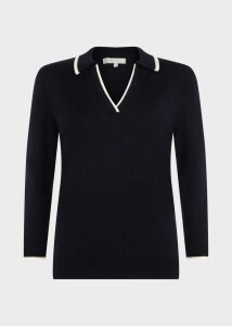 Nora Polo Sweater Navy Ivory