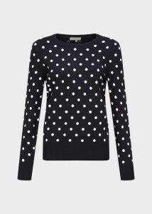 Athena Spot Sweater Navy Ivory