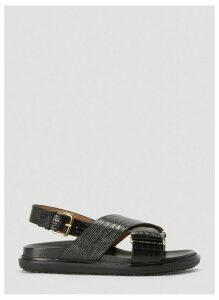 Marni Embossed Fussbett Sandals in Black size EU - 37
