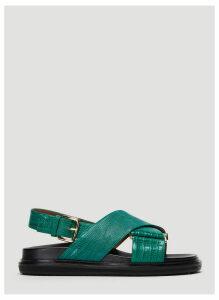 Marni Embossed Fussbett Sandals in Green size EU - 37.5