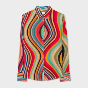 Women's Swirl Print Silk Shirt