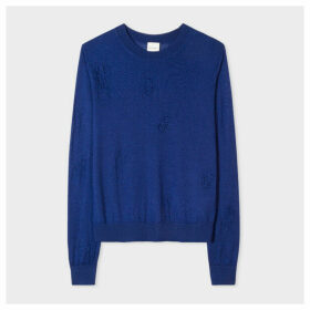 Women's Navy 'Beetle' Openwork Wool-Silk Sweater