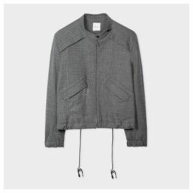 Women's Charcoal Grey Wool-Blend Zip Jacket
