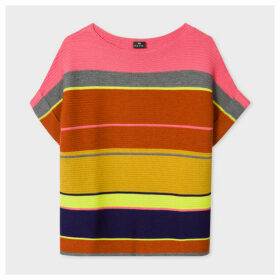 Women's Multi-Coloured Stripe Wool And Cotton-Blend Short-Sleeve Sweater