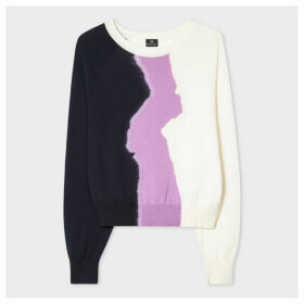 Women's White Colour-Block Cotton-Blend Sweater