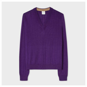 Women's Purple Wool-Silk V-Neck Sweater With Openwork Details