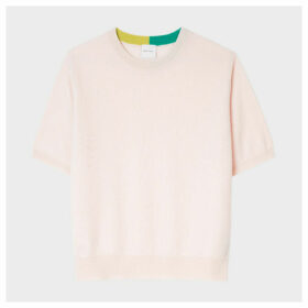 Women's Baby Pink Short-Sleeve Cashmere Sweater