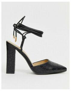 RAID Olive black croc effect ankle tie heeled shoes