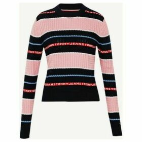 Tommy Jeans  DW0DW07629 STRIPE CABLE  women's Sweater in Pink