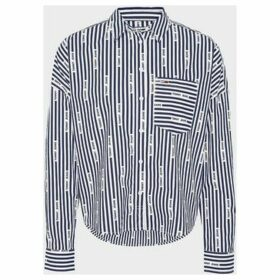 Tommy Jeans  DW0DW07618 LOGO STRIPE SHIRT Women BLACK IRIS  women's Shirt in Black
