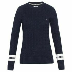 Tommy Jeans  DW0DW07186 TIPPINH CABLE KNITWEAR Women BLACK IRIS  women's Sweater in Black
