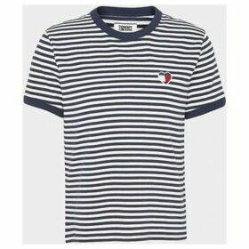 Tommy Jeans  DW0DW07758 STRIPE HEART  women's T shirt in White
