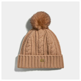 Coach Knit Hat With Shearling Pom Pom