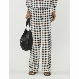 Frigg checked straight woven trousers