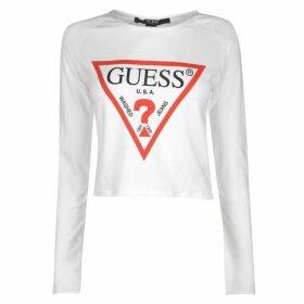 Guess Cropped Logo Long Sleeve T Shirt