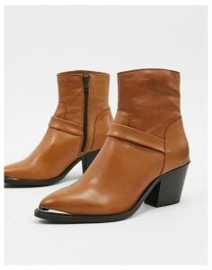 Vero Moda leather western boots-Red
