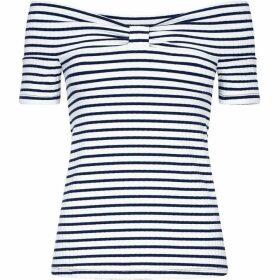 Yumi Stripe Rib Bardot Top