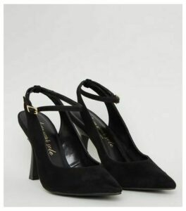 Black Suedette Slim Flared Heel Court Shoes New Look Vegan
