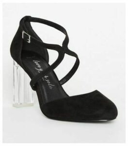 Wide Fit Black Cross Strap Clear Heel Courts New Look