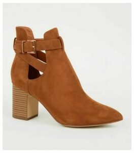 Tan Suedette Pointed Cut Out Boots New Look Vegan