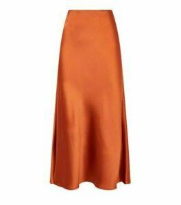 Rust Bias Cut Satin Midi Skirt New Look