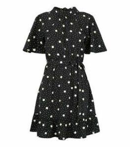 Black Spot High Neck Mini Dress New Look